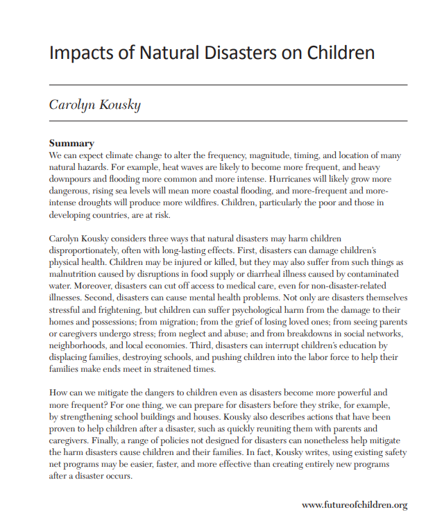 Impacts of Natural Disasters on Children